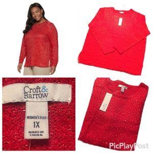 Croft & Barrow Plus Size 1x Red Glitter Sweater
